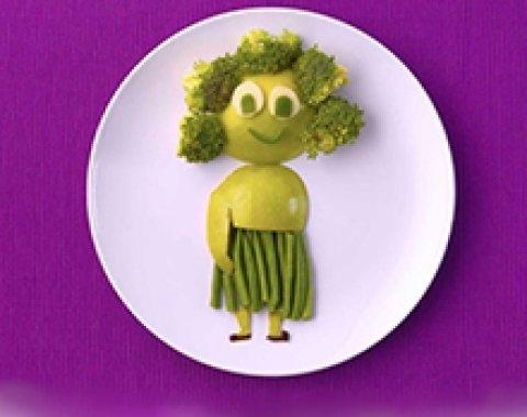 Green veggies lady